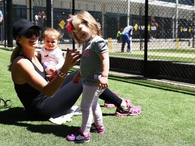 Candice Warner with Indi and Ivy. Getty Images