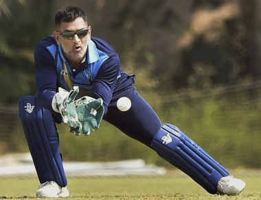 Jharkhand captain M S Dhoni in action during the Vijay Hazare Trophy against Hyderabad. PTI