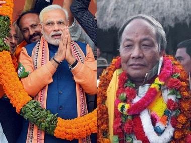 Narendra Modi and Okram Ibobi Singh. PTI