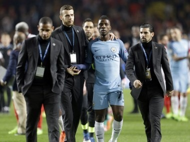 Manchester City's Kelechi Iheanacho, leaves the pitch at the end of the Champions League match. AP