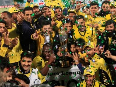 Players of Peshawar Zalmi celebrate their victory over Quetta Gladiators in the PSL 2017 final. Reuters