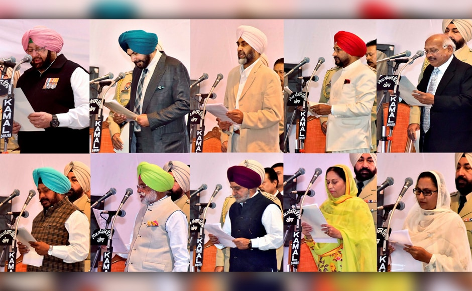 Along with Captain Amarinder Singh, seven ministers and two minister of states also took the oath of office and secrecy. PTI