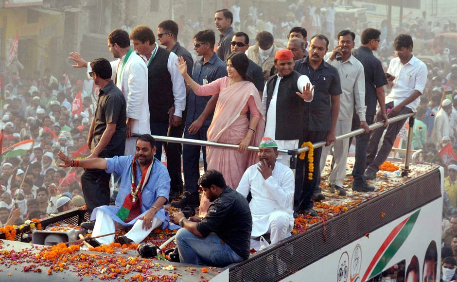 Akhilesh's MP wife Dimple joined the roadshow midway on Saturday. PTI