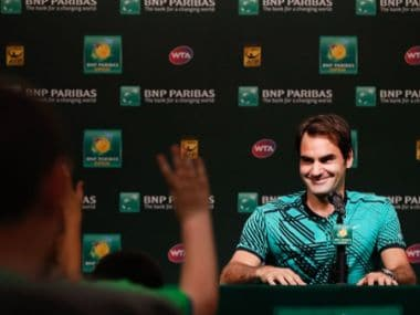 Roger Federer being grilled by school kids at the Indian Wells Masters. Image courtesy: YouTube