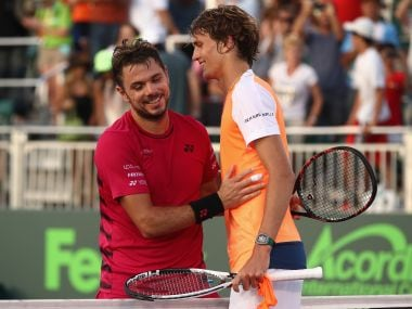 Stan Wawrinka congratulates Alexander Zverev after his win at Miami Open. AFP