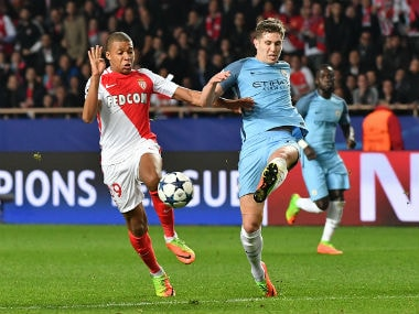 John Stone in action against Monaco in the last 16 of the Champions league. AFP