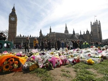 Floral tributes laid outside Parliament Square, following the attack in Westminster. Reuters