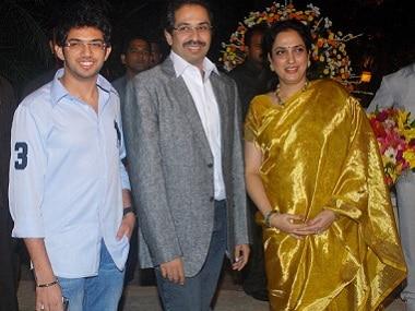 Shiv Sena chief Uddhav Thackeray with his wife Rashmi and son Aditya. Getty Images