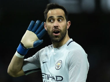 Manchester City's Claudio Bravo gestures during the FA Cup clash with Huddersfield. AFP