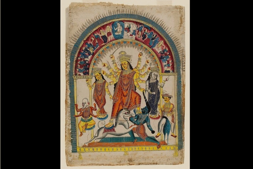 Image from the 'Durga Puja — With Notes and Illustrations' by Pratapchandra Ghoshal. Printed at The Hindu Patriot Press, Varanasi — 1871. Retrieved from the Rare Book Society of India