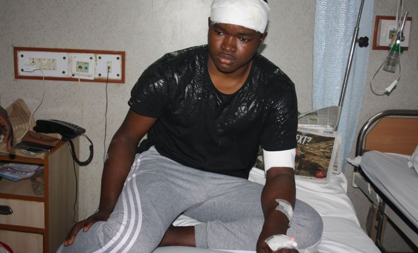 Endurance Amarawa is still nursing his head and forearm injuries in the hospital. Image courtesy: Narendra Kaushik