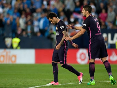La Liga: 10-man Barcelona fall to defeat at Malaga, fail to close the gap on Real Madrid