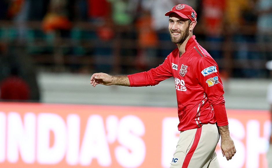 Glenn Maxwell captain of KXIP celebrates after win the match during match 26 of the Vivo 2017 Indian Premier League between the Gujarat Lions and the Kings XI Punjab held at the Saurashtra Cricket Association Stadium in Rajkot, India on the 23rd April 2017 Photo by Rahul Gulati - Sportzpics - IPL