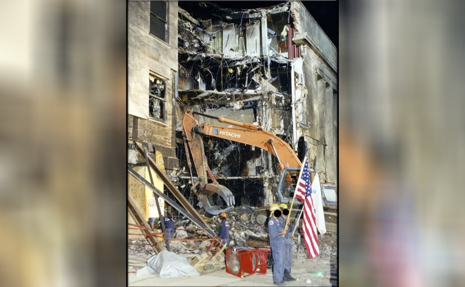 Search crews appear to scour the wreckage in this images released by the FBI. Photo courtesy: FBI