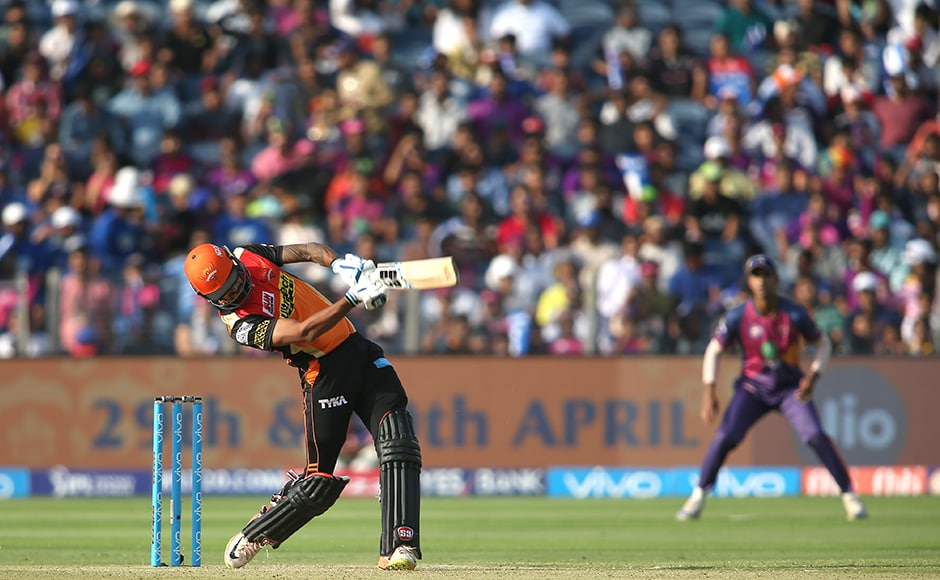 Deepak Hooda of the Sunrisers Hyderabad hits over the top for six during match 24 of the Vivo 2017 Indian Premier League between the Rising Pune Supergiant and the Sunrisers Hyderabad held at the MCA Pune International Cricket Stadium in Pune, India on the 22nd April 2017 Photo by Shaun Roy - Sportzpics - IPL
