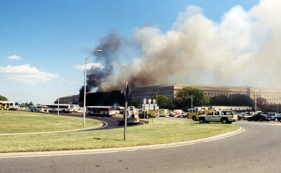 The immediate devastation of the attack and the fire engulfing the building can be seen here. Photo courtesy: FBI