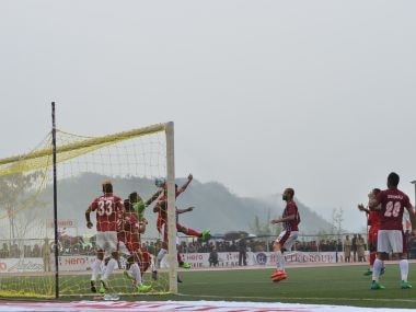 Action from the Aizawl FC and Mohun Bagan match. Image courtesy: AIFF media