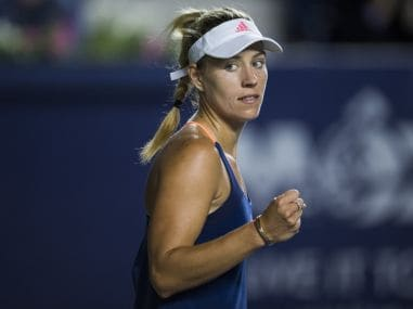 Angelique Kerber celebrates a point against Heather Watson. Image courtesy: Twitter/@WTA