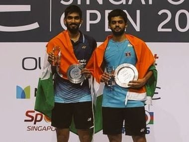 B Sai Praneeth and Kidambi Srikanth pose on the podium after the SIngapore Open final.