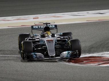 Mercedes driver Lewis Hamilton steers his car during the Bahrain Grand Prix. AP