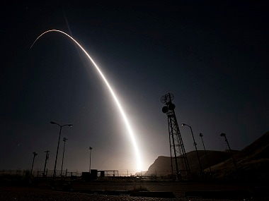 An unarmed Minuteman 3 intercontinental ballistic missile being launched. AP