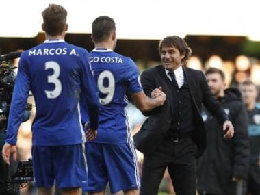 Chelsea manager Antonio Conte with Diego Costa. Reuters