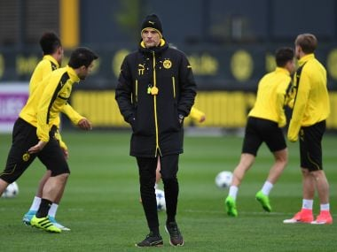 Dortmund's head coach Thomas Tuchel attends a training session ahead of the match against AS Monaco. AFP