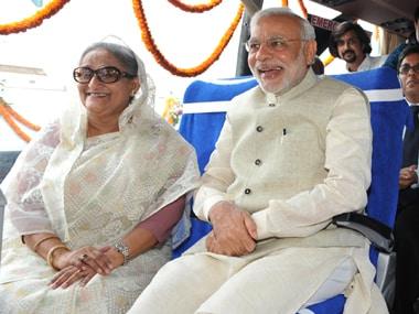 Bangladesh Prime MInister Sheikh Hasina with Prime Minister Narendra Modi. AFP