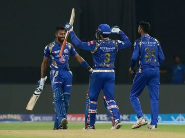 Hardik Pandya of Mumbai Indians celebrates after the win over the Kolkata Knight Riders. Sportzpics