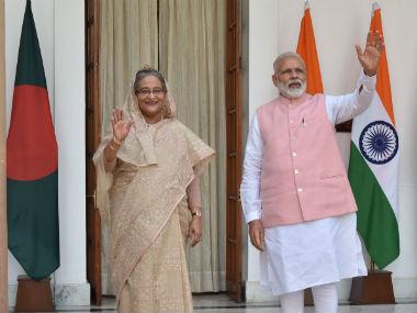 Prime Minister Narendra Modi with Bangladesh PM Sheikh Hasina. Image courtesy: @PMOIndia/Twitter