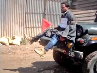 A screenshot of the video of Army using a man as a human shield in Kashmir. Image courtesy: YouTube