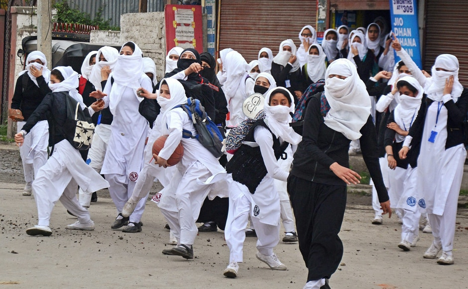 Girl students, barely out of their teens, were also seen pelting stones at security personnel during clashes in the vicinity of Lal Chowk in Srinagar on Monday. Sporadic clashes continued as security forces tried to restore traffic on the highway. PTI