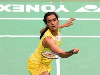 India's PV Sindhu plays a return in her match. AFP