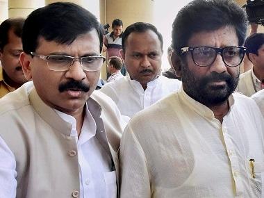 Ravindra Gaikwad (right) with Shiv Sena spokesperson Sanjay Raut. PTI