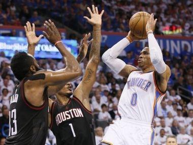 Oklahoma City Thunder guard Russell Westbrook (0) shoots against the Houston Rockets. AP