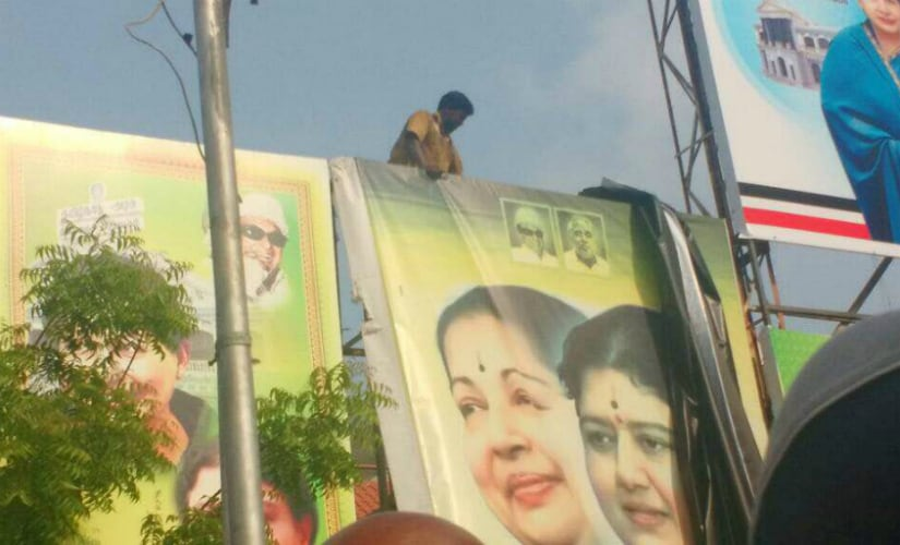 Banners with VK Sasikala being removed in Chennai.