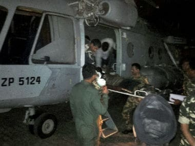 Injured CRPF jawans being airlifted to Raipur by an IAF chopper for treatment after the Naxal attack in Sukma. PTI