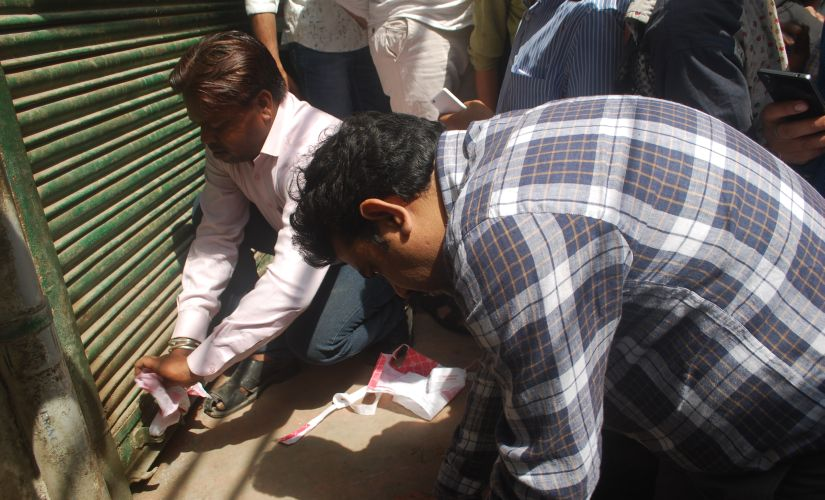 Officials seal one of the abattoirs in Ghaziabad. Image courtesy: Arpit Parashar
