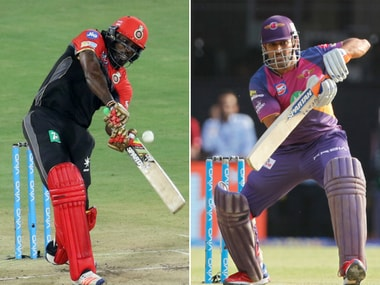 Chris Gayle and MS Dhoni in action during IPL 2017. Sportzpics
