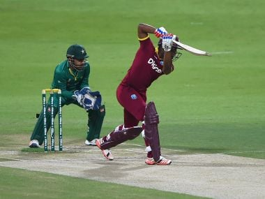 Evin Lewis of West Indies bats against Pakistan. Getty Images