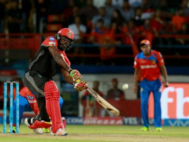 RCB's Chris Gayle in action in an IPL  match against Gujarat Lions. Sportzpics