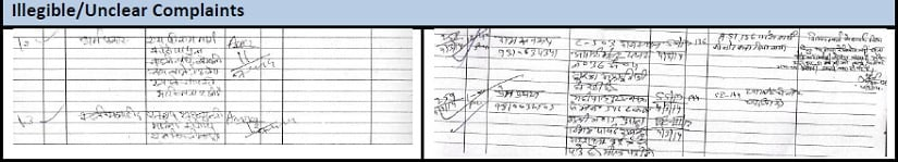 Snapshot of illegible/unclear complaints registered at the central control room, Municipal Corporation of Delhi. Image procured by author