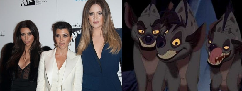 (L-R) Kim, Kourtney and Khloe and the hyenas