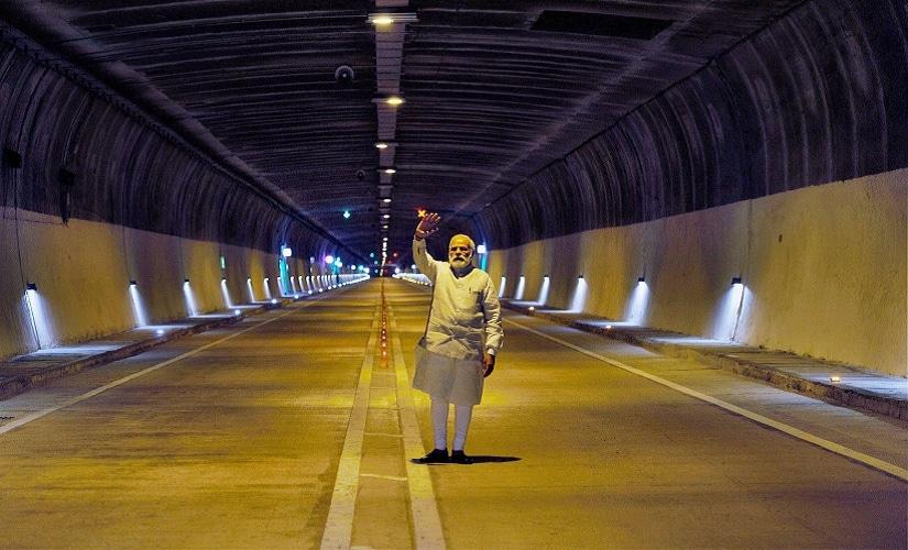 Prime Minister Narendra Modi visits the Chenani-Nashri Tunnel, in Chenani on Sunday. PTI