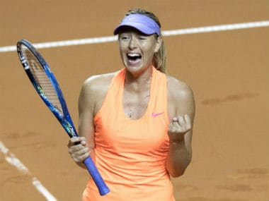 Maria Sharapova celebrates after she defeated Anett Kontaveit in the quarterfinal at the Stuttgart Open. AFP