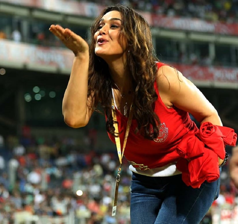 And here's Preity Zinta, celebrating a Kings XI victory