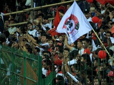 Aizawl FC fans were in good spirits despite trailing 0-1 at half-time. Image courtesy: Roanna Rahman