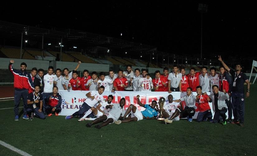 The Aizawl players celebrate their I-League title on Sunday. Image courtesy: AIFF media
