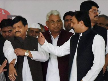 A file photo of former chief minister of UP Akhilesh Yadav and senior SP leader Shivpal Yadav. PTI