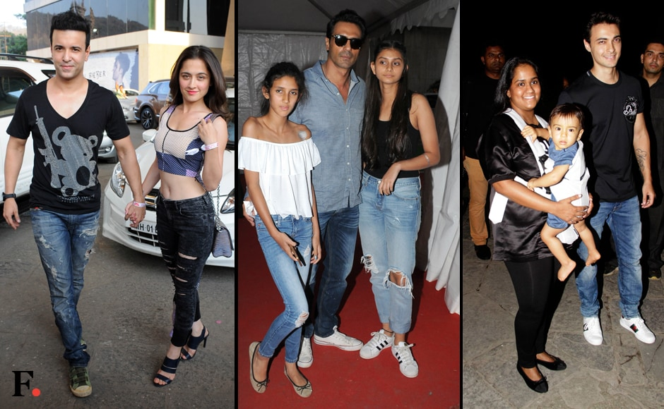 Amir Ali and Sanjeeda Shaikh were Bieber-ready, as were Arjun Rampal's daughters. Arpita and Ayush Sharma brought their tot Ahil to the gig. Photos: Sachin Gokhale/Firstpost